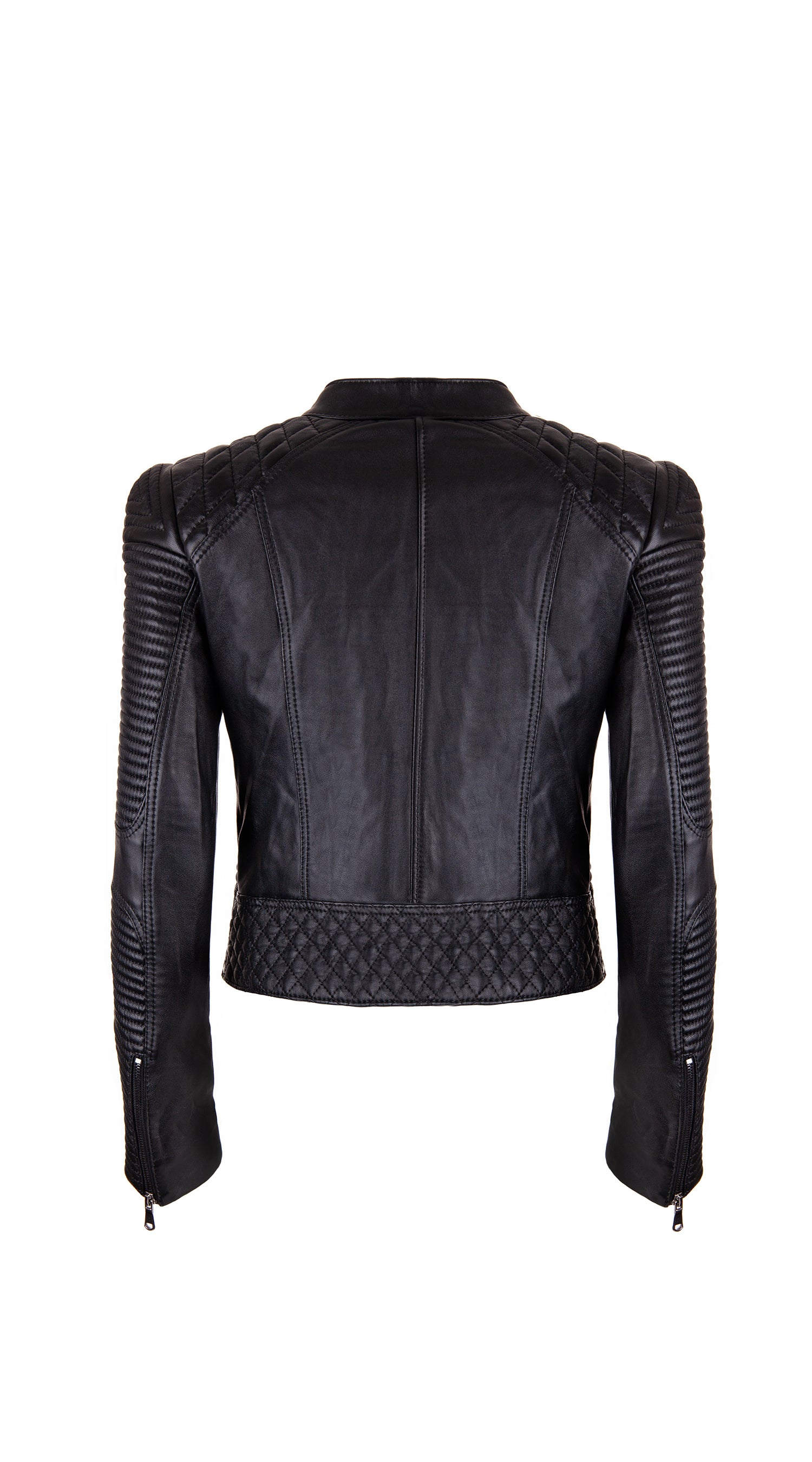 Stryder Leather Biker Jacket - Black