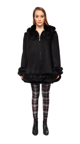 Cashmere & Fox Fur Swing Coat - Black
