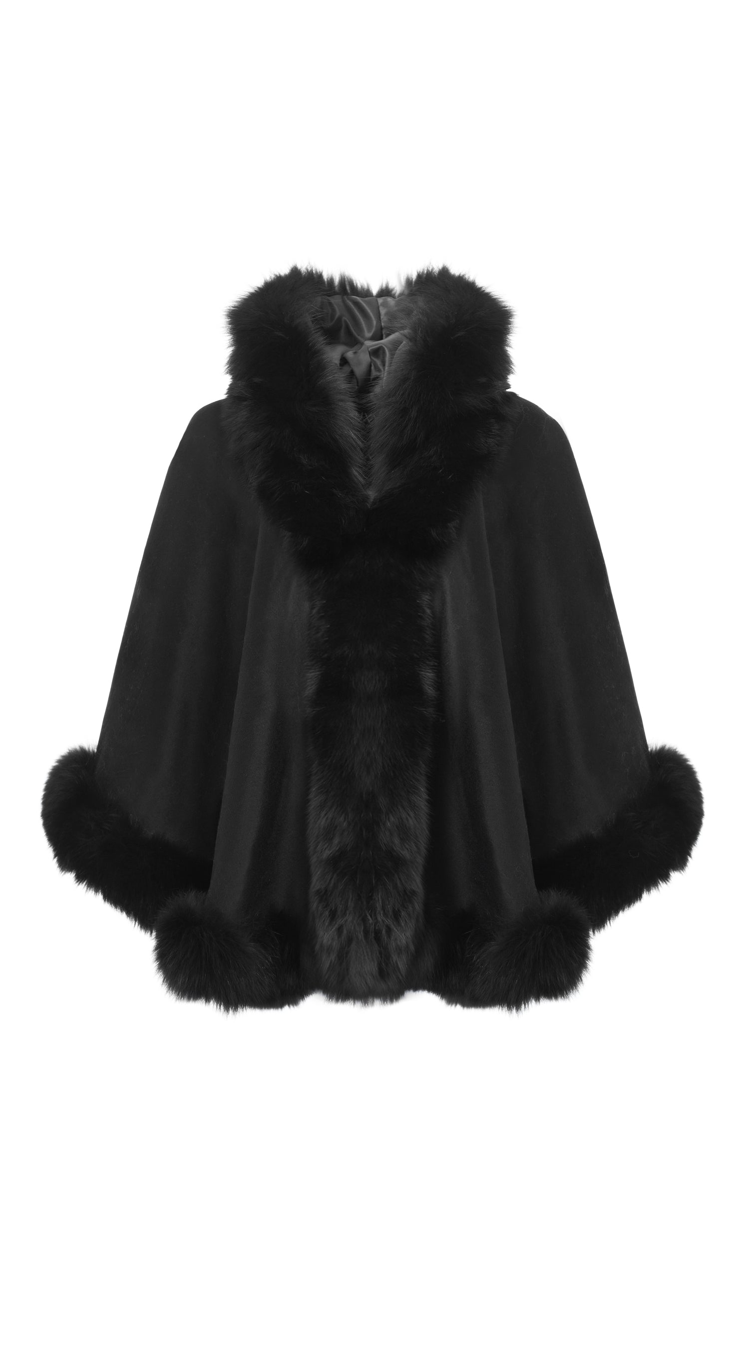 Cashmere & Fox Fur Hooded (removeable) Cape