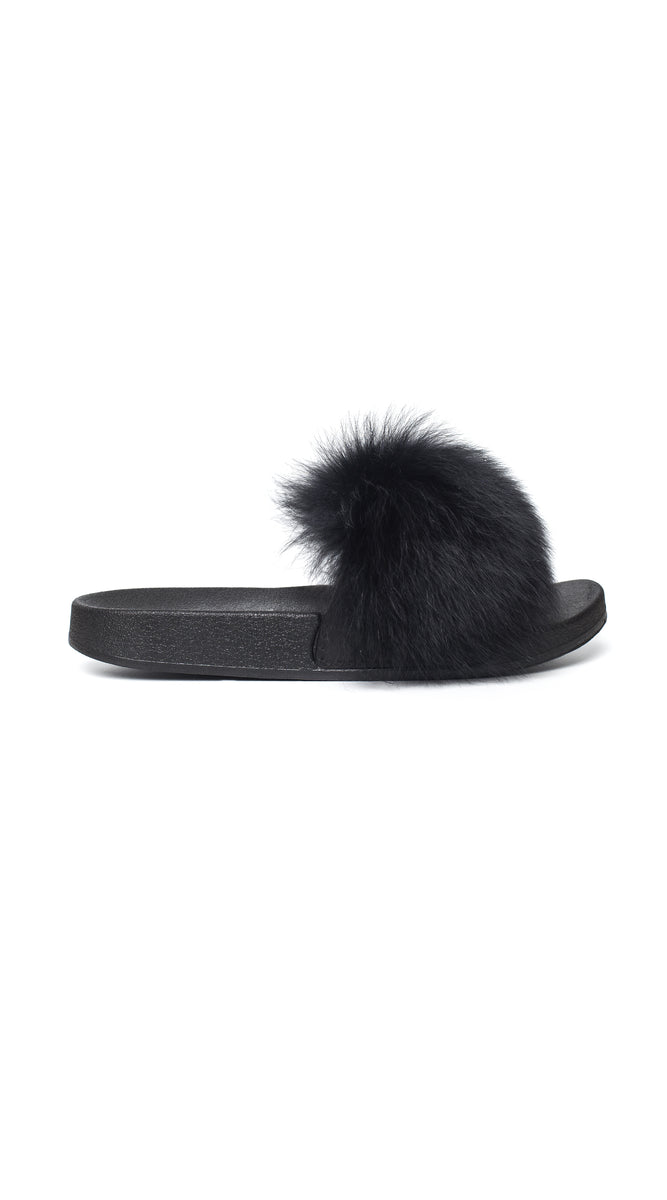 Luxy Fox Fur Sliders - Black