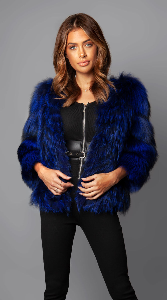 Supreme Cropped Fox Fur Coat - Midnight Blue
