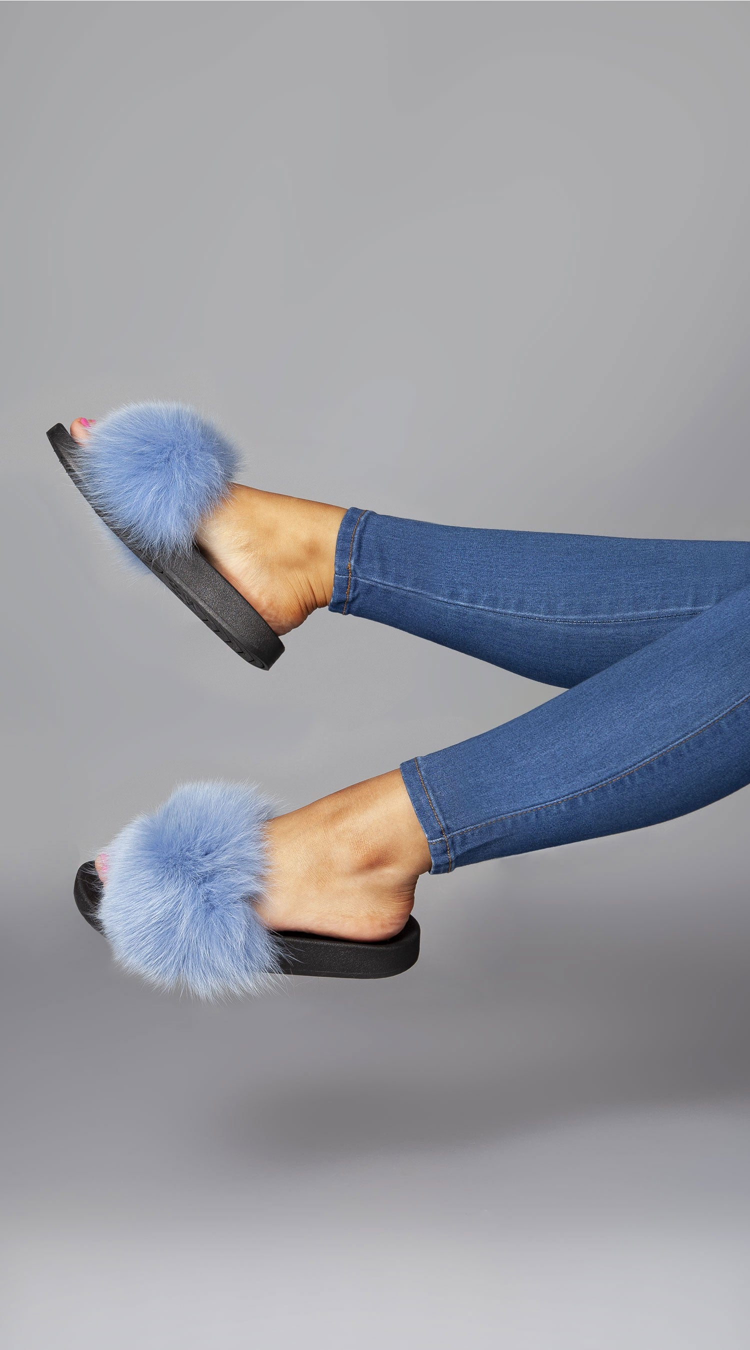 Luxy Fox Fur Sliders - Blue
