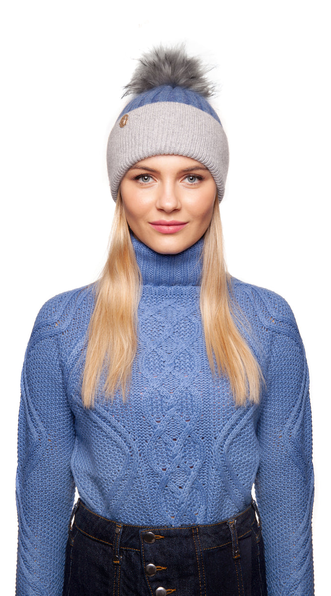 Faux Harley Pom Pom Hat - Blue/Grey