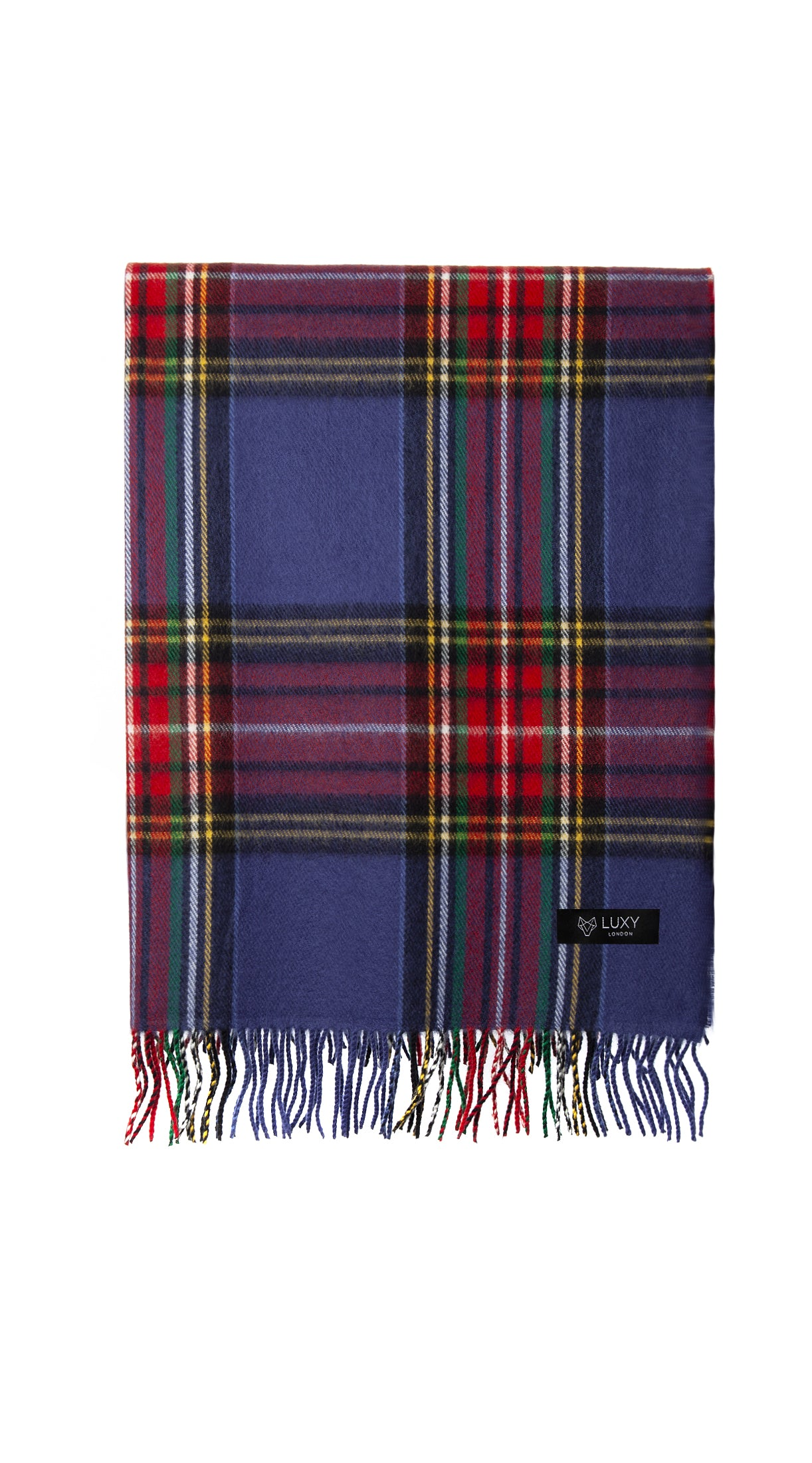 Wool Check Pattern Scarf - Classic x Blue