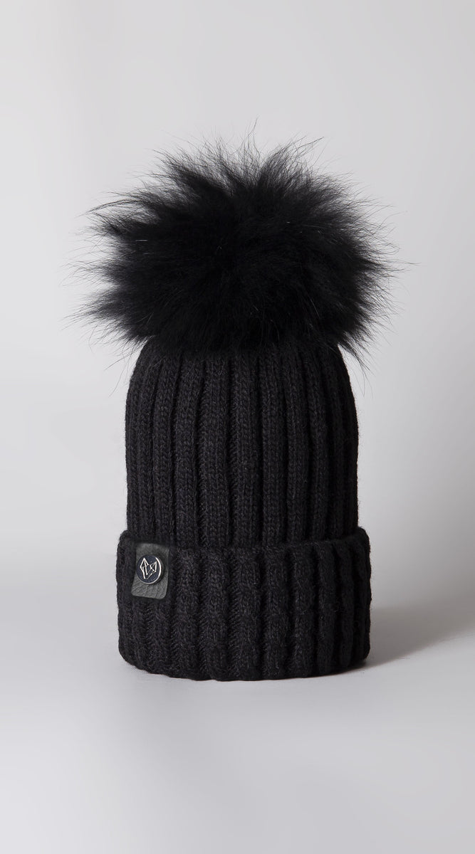 Faux Boston Pom Pom Hat - Black