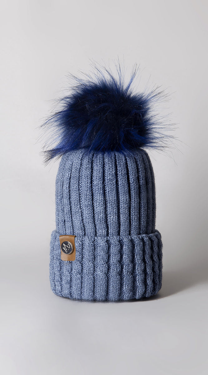 Faux Boston Pom Pom Hat - Blue
