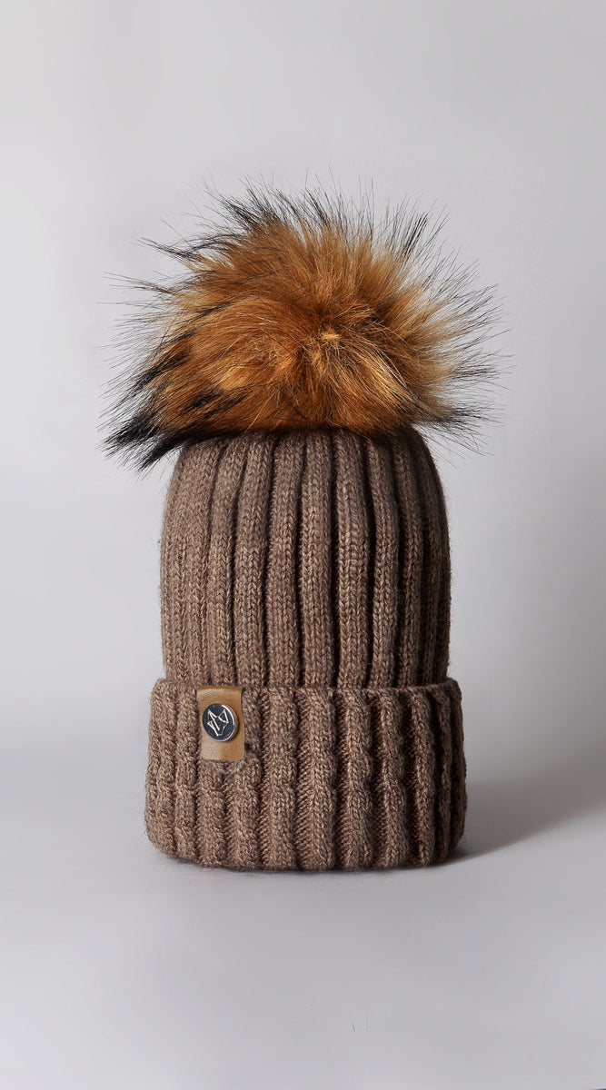 Faux Boston Pom Pom Hat - Mocha