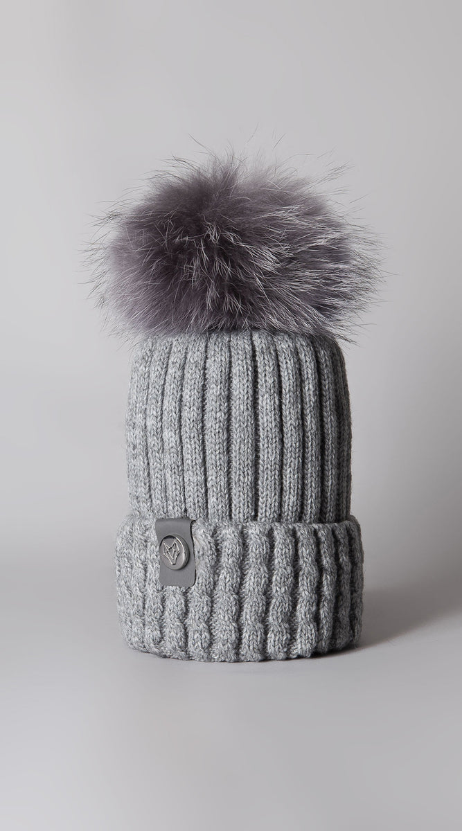 Mens Boston Pom Pom Hat - Grey