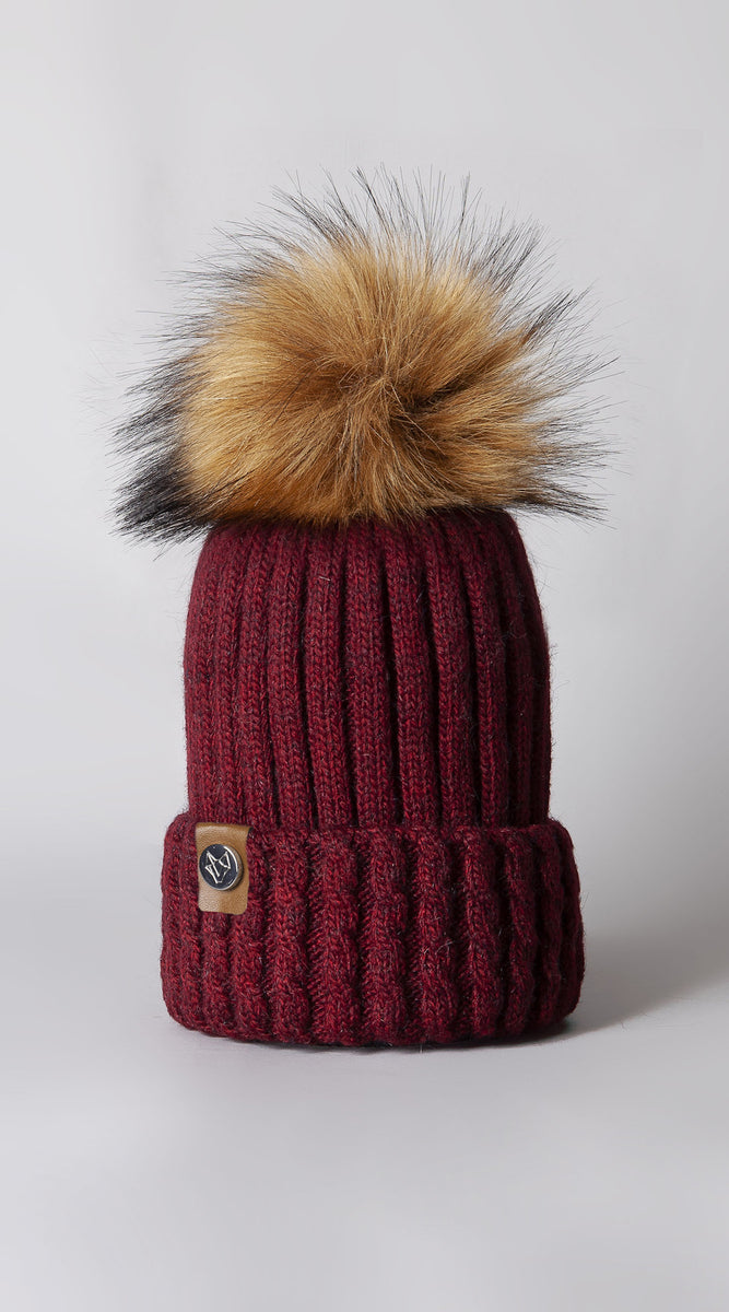Faux Boston Pom Pom Hat - Wine