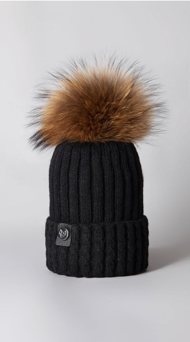 Boston Pom Pom Hat - Black