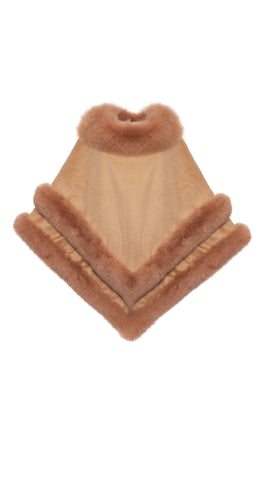 Cashmere Double Layered Fox Poncho - Camel