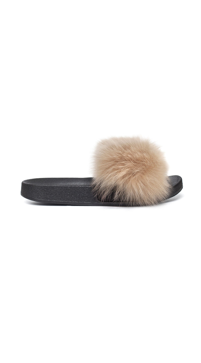 Luxy Fox Fur Sliders - Champagne