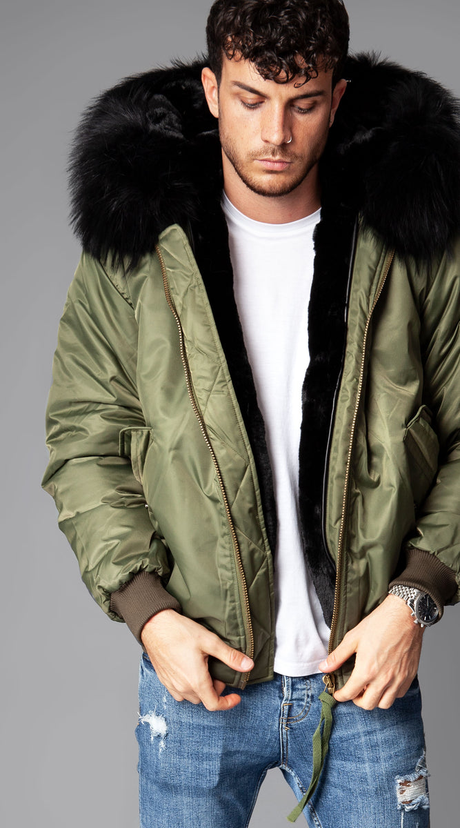 Mens Khaki Luxy Fur Bomber - Black