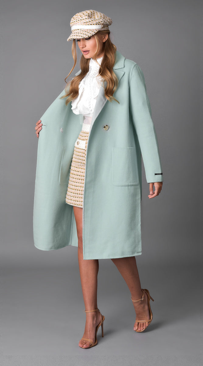 Luxy Classic Double Faced Wool Coat - Mint