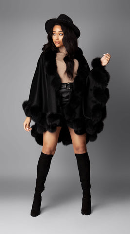 Cashmere & Fox Fur Spiral Cape