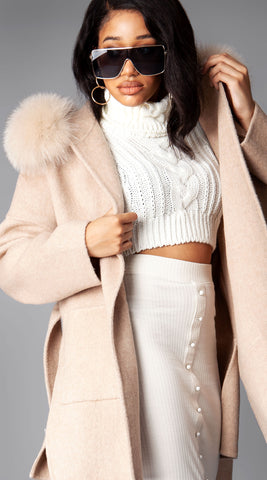 Cashmere & Fox Fur Belted Coat - Oatmeal