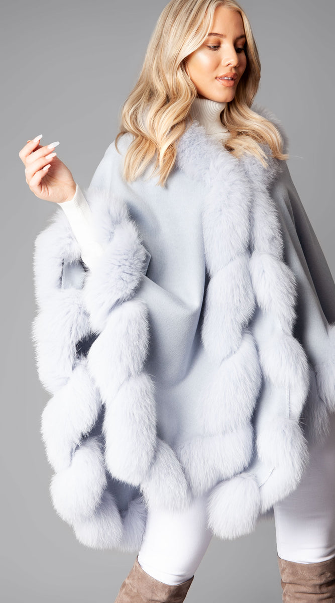 Cashmere & Fox Fur Spiral Cape - Light Blue