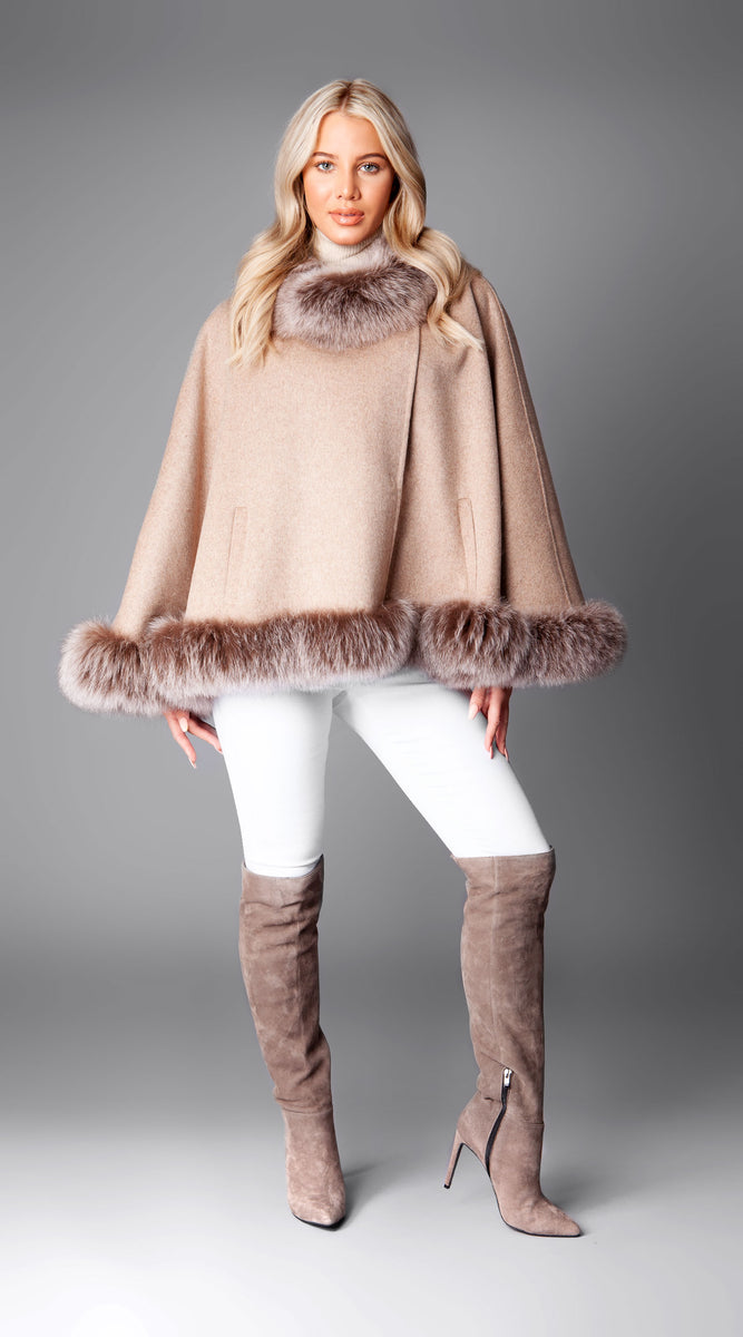 Cashmere Double Faced Fox Fur Poncho/Cape