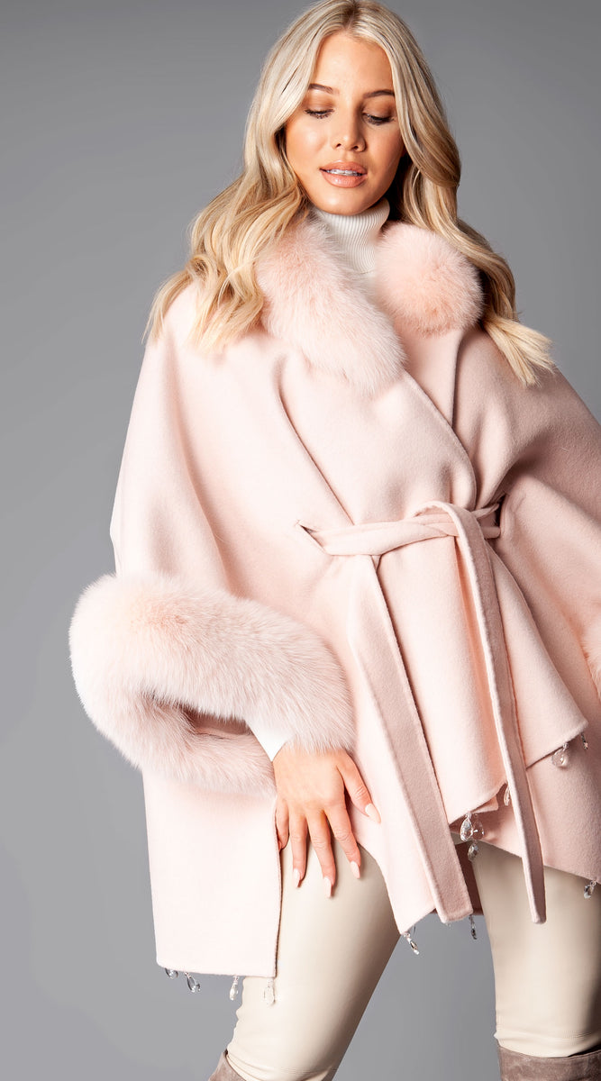 Luxy Cashmere + Fox Fur Belted Blanket Cape