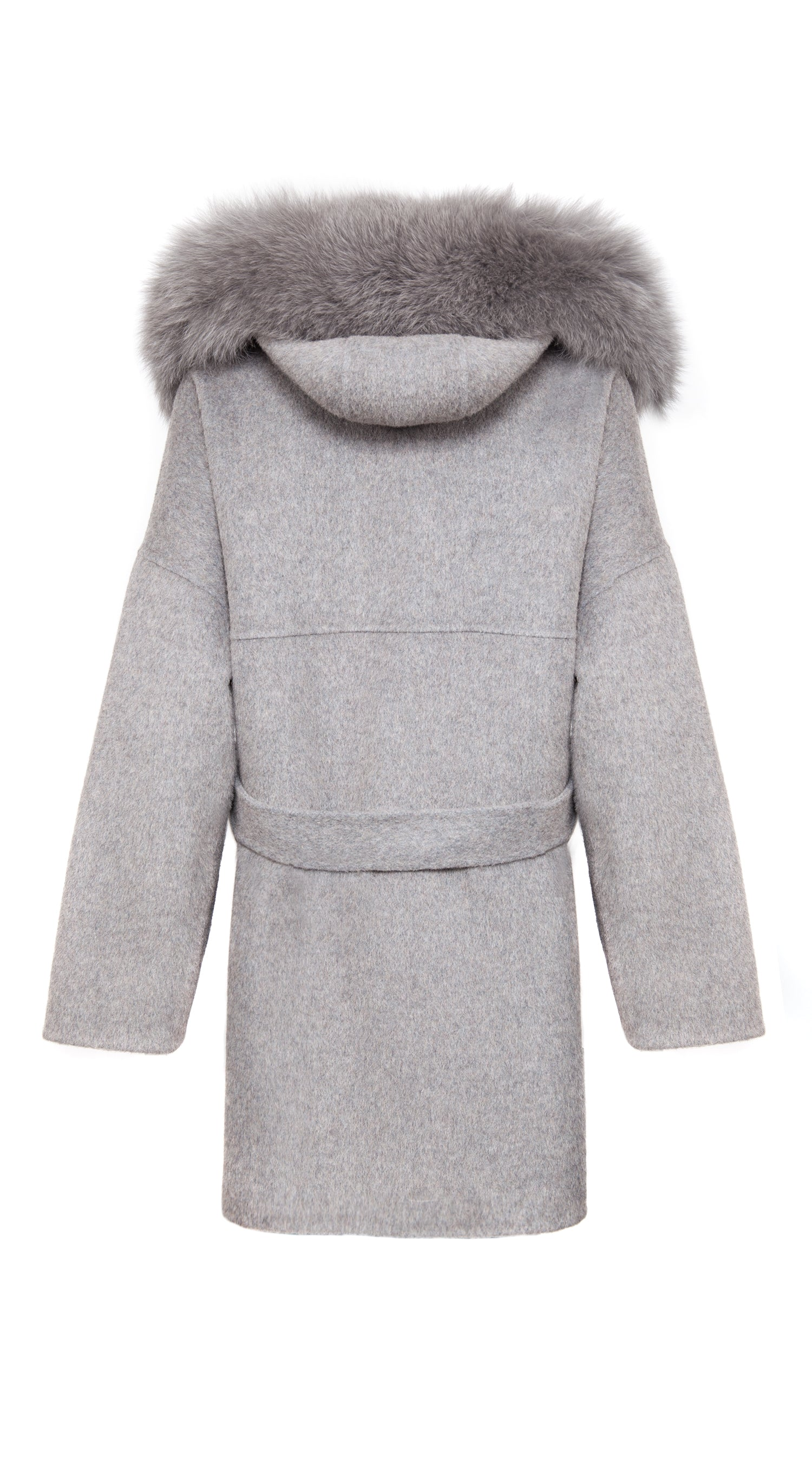 Cashmere & Fox Fur Belted Coat - Grey