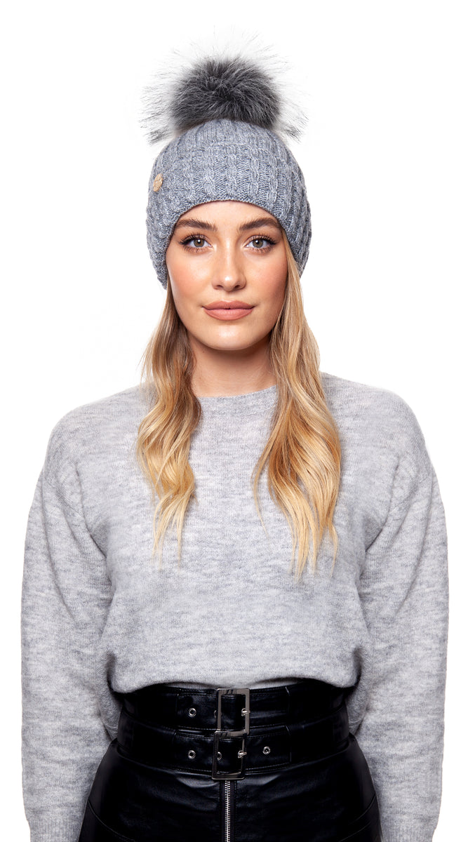 Faux Boston Pom Pom Hat - Grey