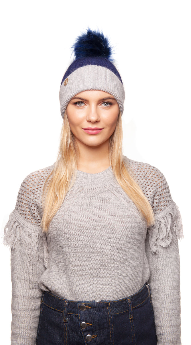 Faux Harley Pom Pom Hat - Navy/Grey