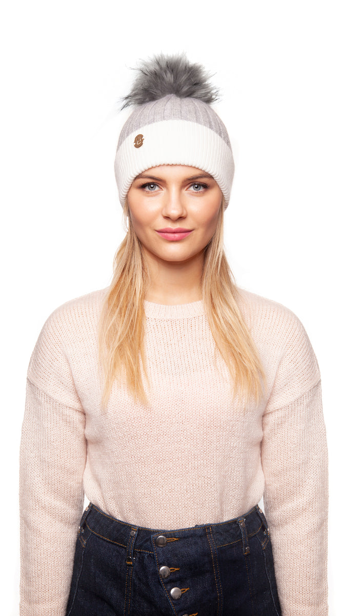 Faux Harley Pom Pom Hat - Grey/White