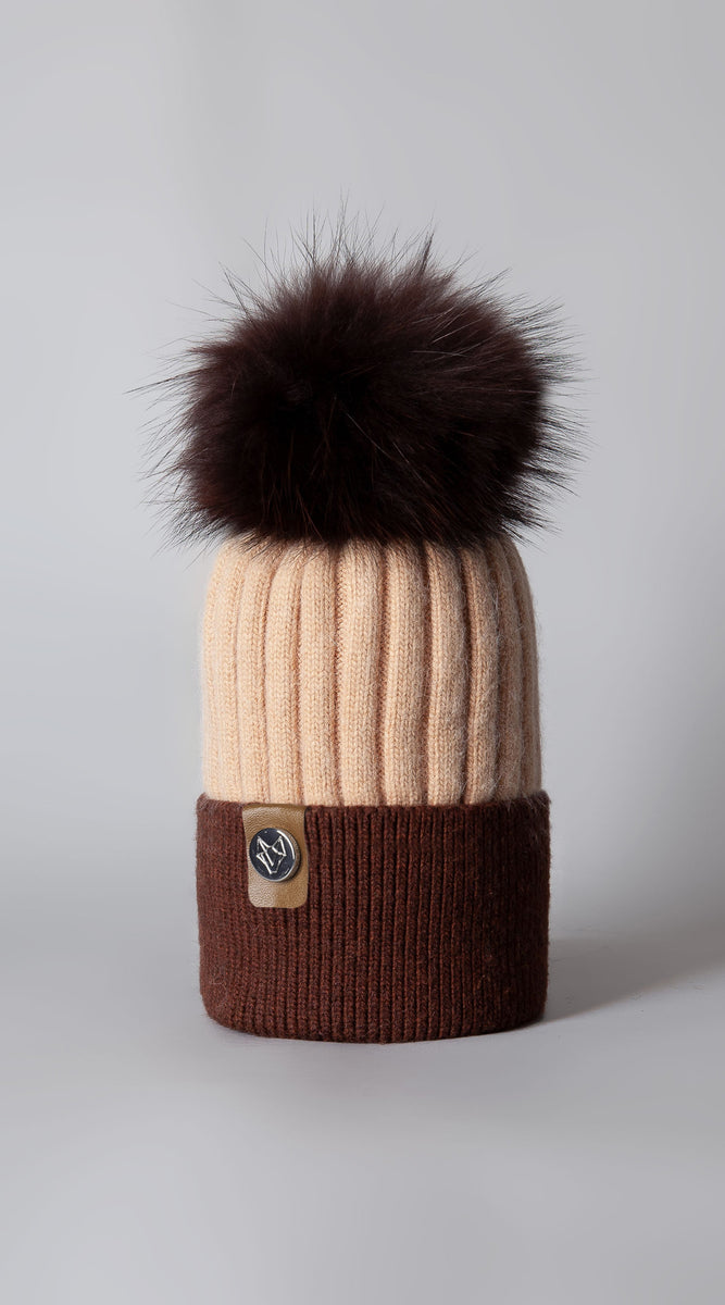 Harley Pom Pom Hat - Biscuit/Brown