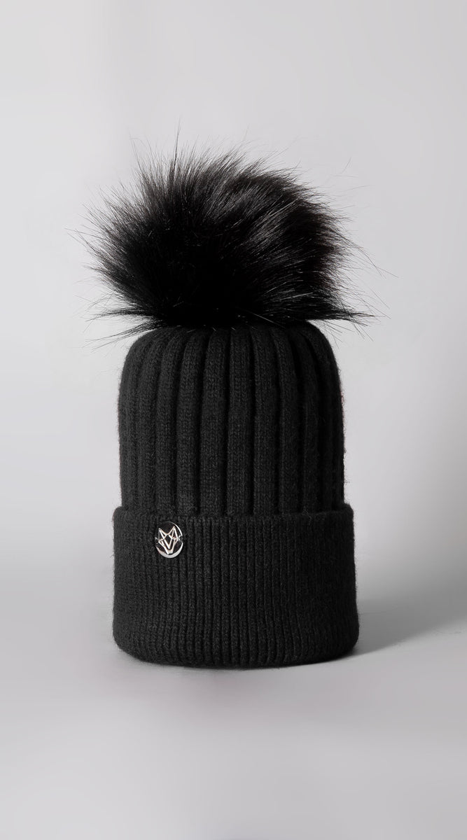 Mens Faux Harley Pom Pom Hat - Black