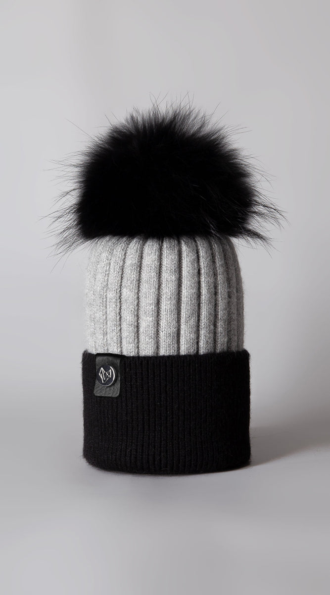 Harley Pom Pom Hat - Black/Grey