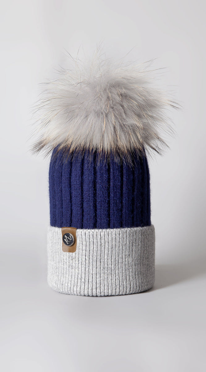 Harley Pom Pom Hat - Navy/Grey