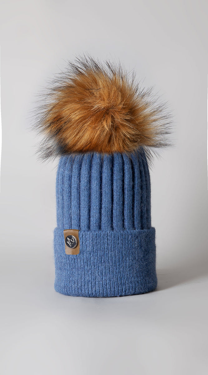 Mens Harley Pom Pom Hat - Blue