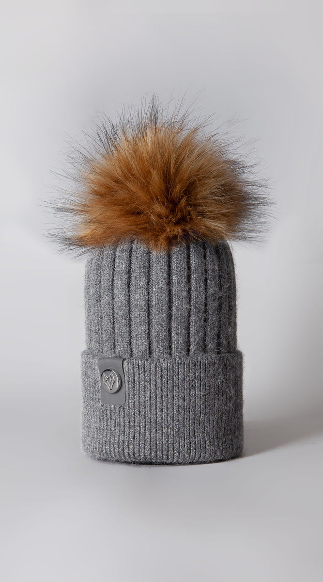 Mens Faux Harley Pom Pom Hat - Charcoal