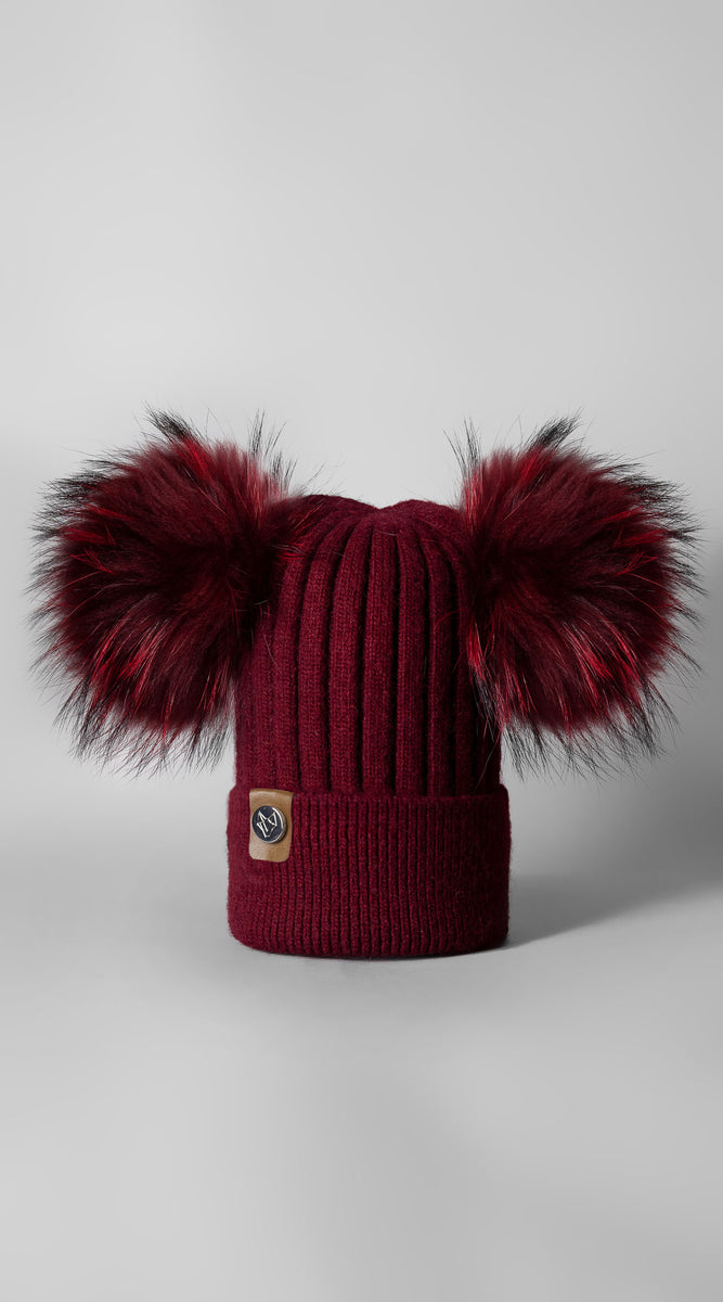 Double Harley Pom Pom Hat - Wine