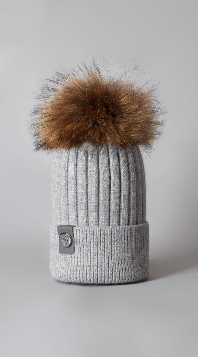 Mens Harley Pom Pom Hat - Grey