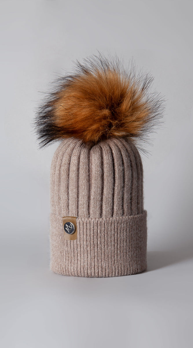 Mens Faux Harley Pom Pom Hat - Oatmeal