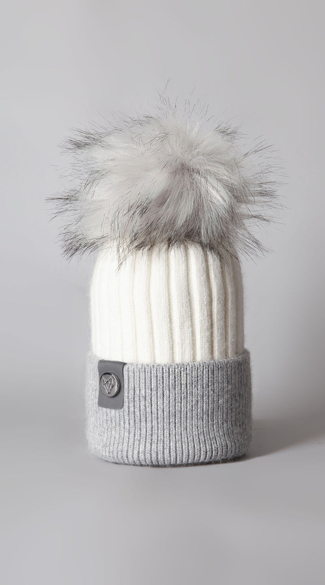 Harley Pom Pom Hat - White/Grey