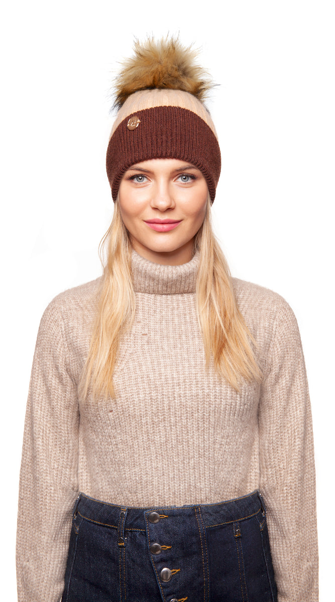 Faux Harley Pom Pom Hat - Brown & Ivory