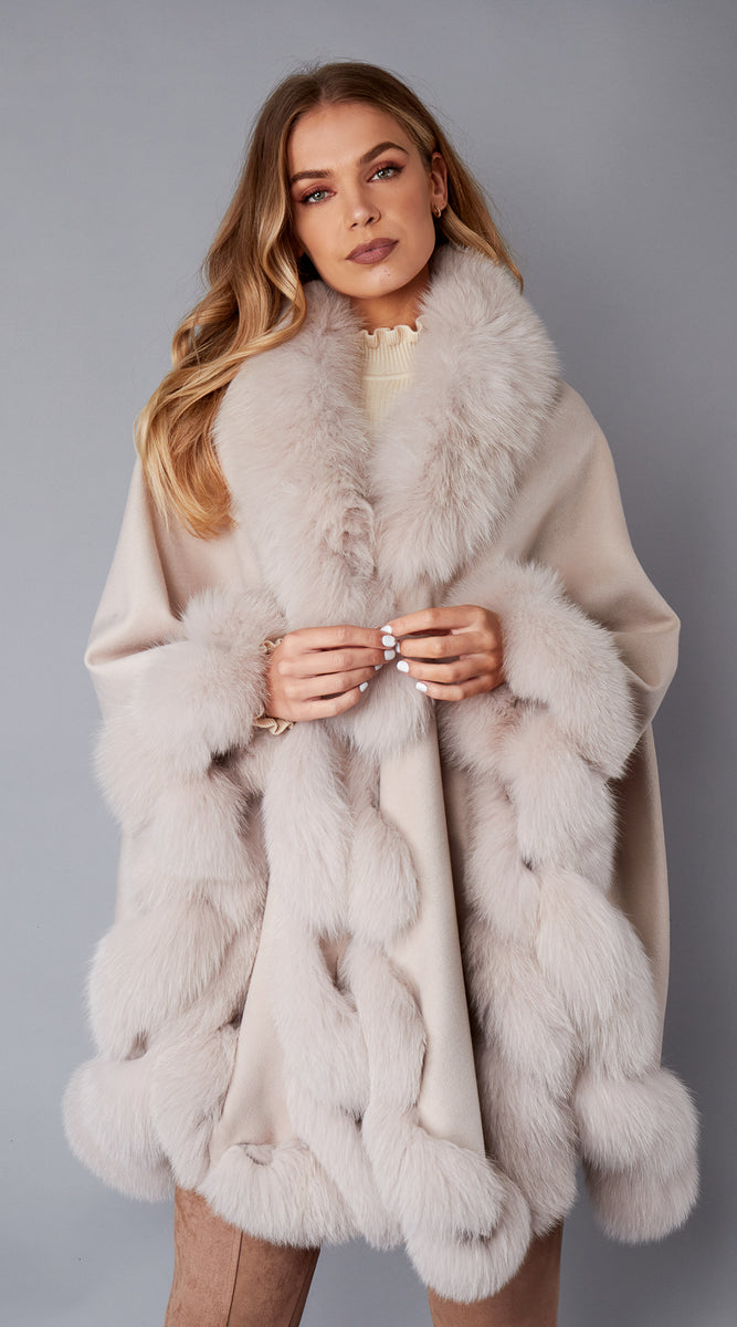 Cashmere & Fox Fur Spiral Cape - Oatmeal