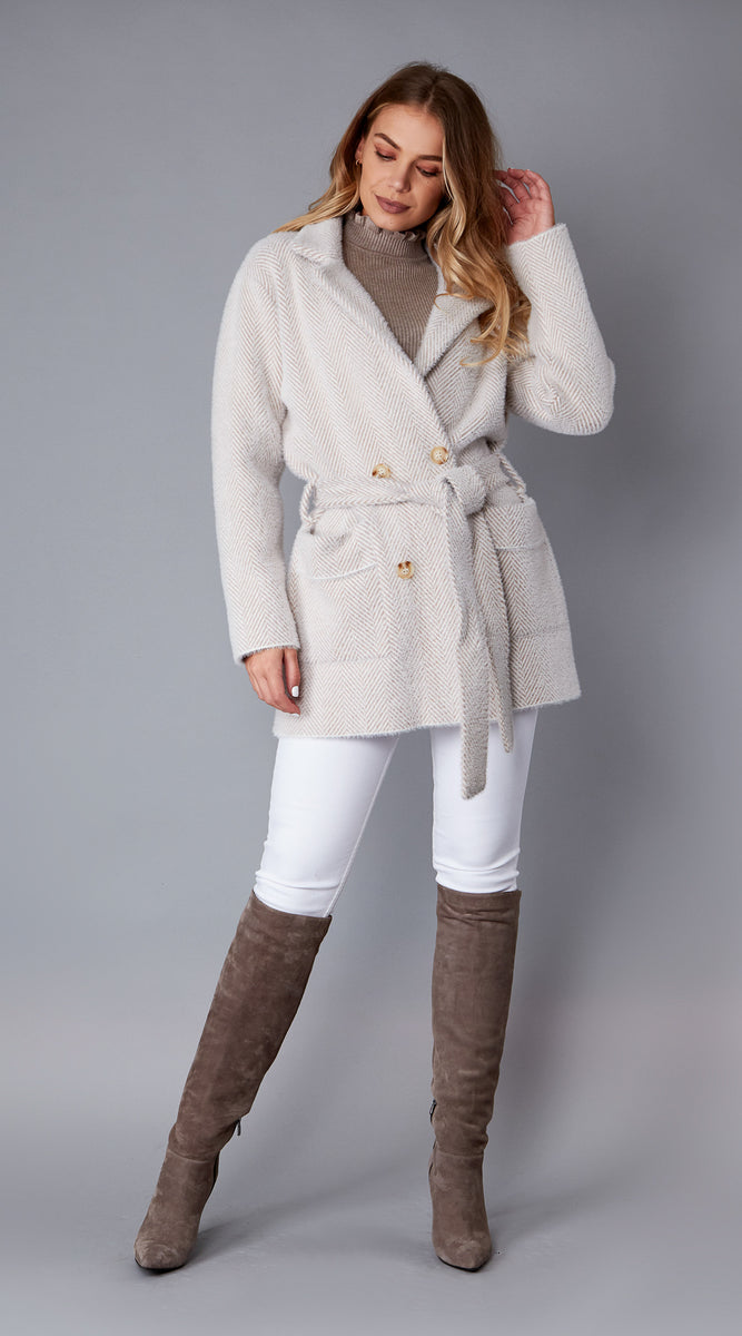 Luxy Knitted Wrap Coat with Belt