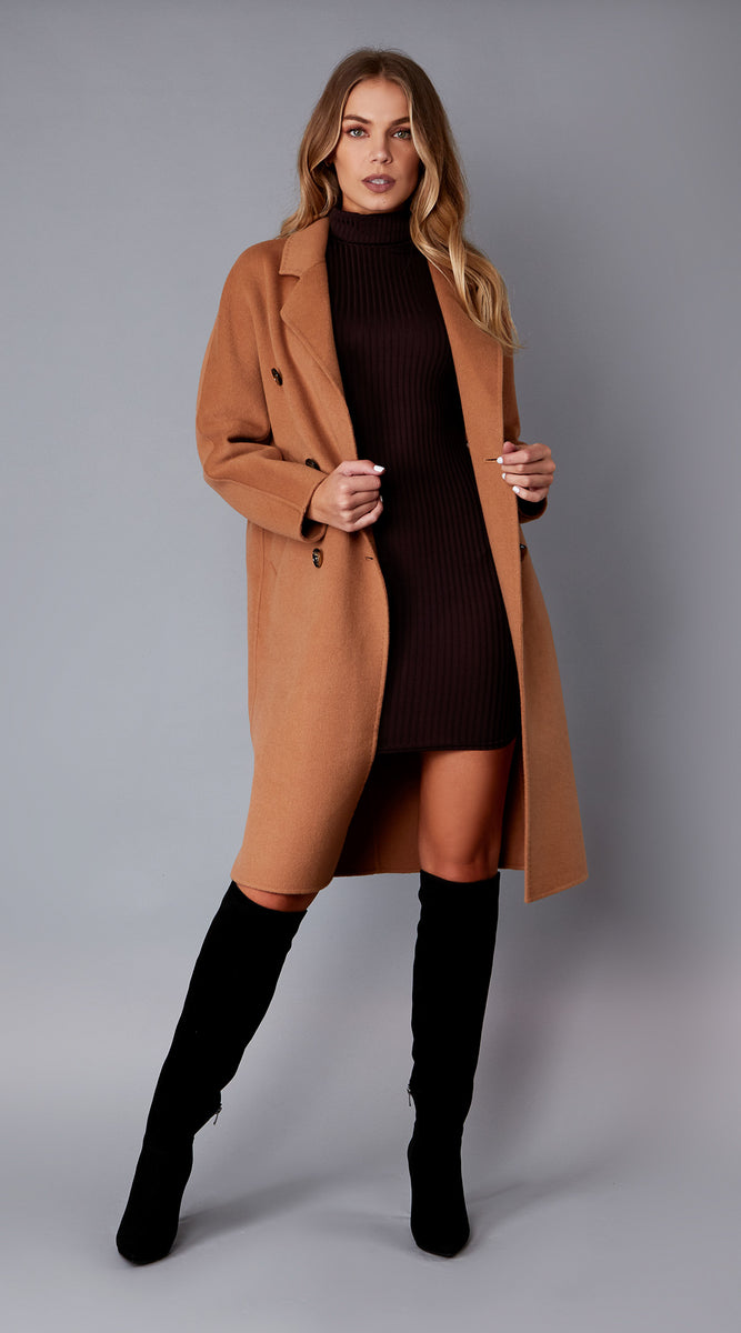 Luxy Classic Double Faced Wool Coat - Camel