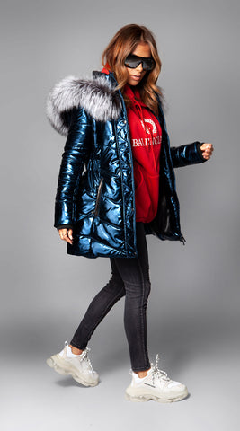 Luxy Metallic Hooded Down Jacket