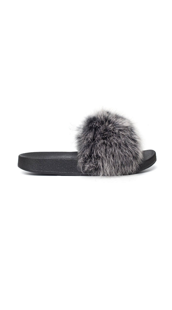 Luxy Fox Fur Sliders - Mist