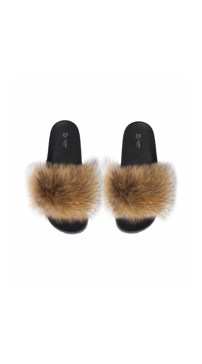 Luxy Fox Fur Sliders - Natural