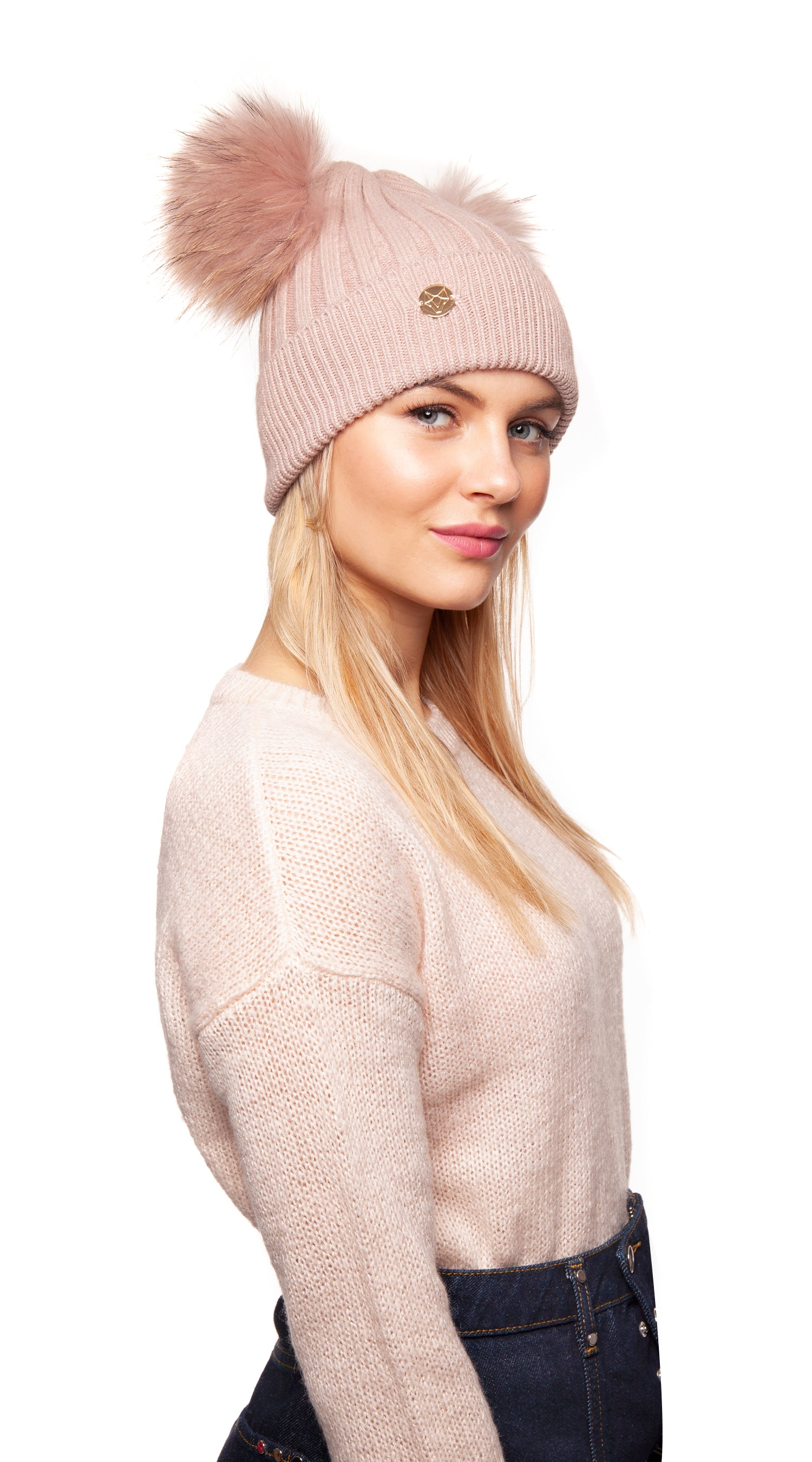 Double Harley Pom Pom Hat - Blush