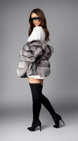 Supreme Silver Fox Fur Coat - Spiral Arms