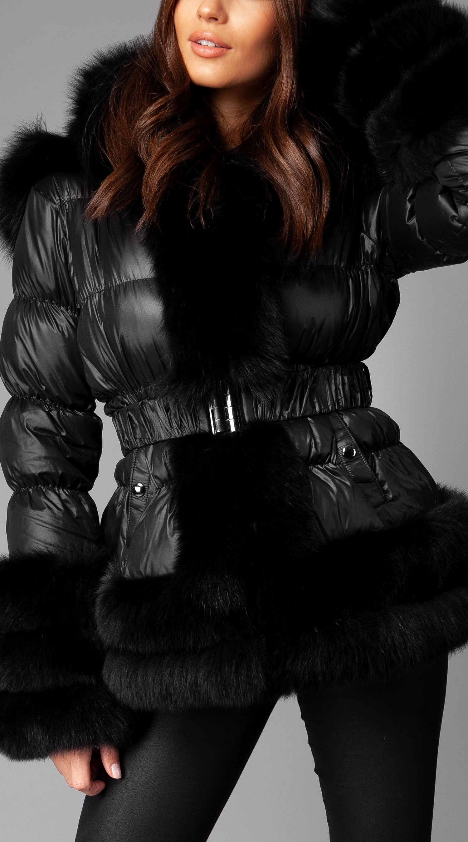 Ski -Sass Fox Fur Down Jacket - Black