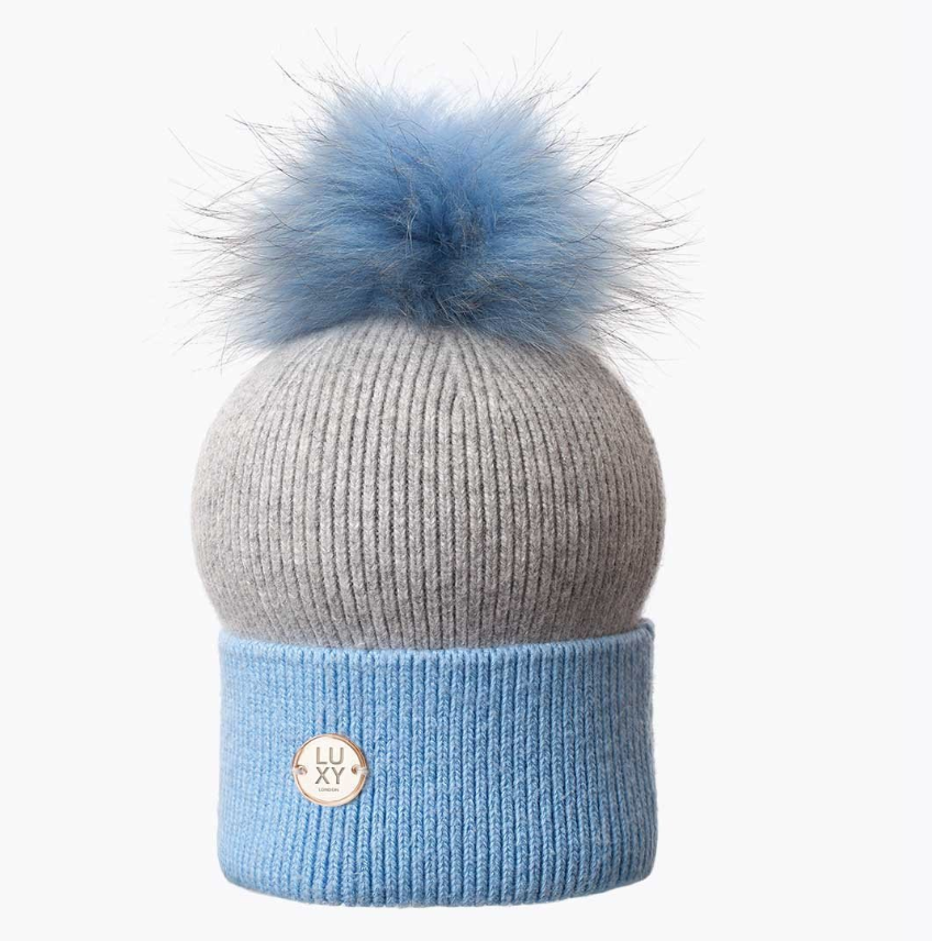 ***HALF PRICE*** Sophie Pom Pom Hat - Blue & Grey