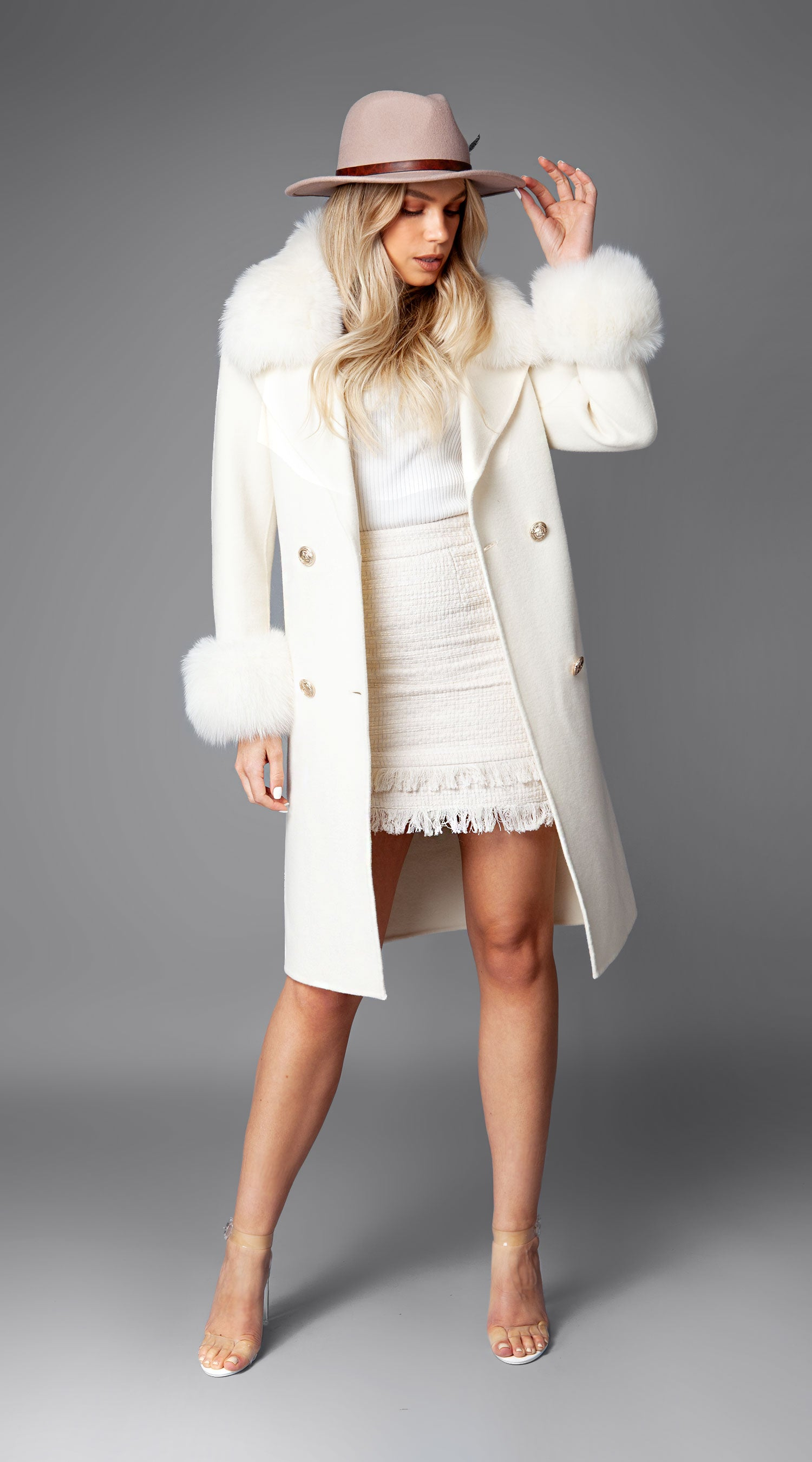 Cashmere & Fox Fur Belted Coat - Ivory