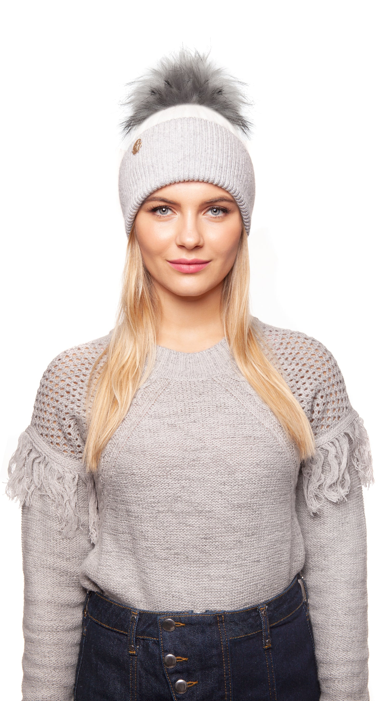 Faux Harley Pom Pom Hat - White/Grey